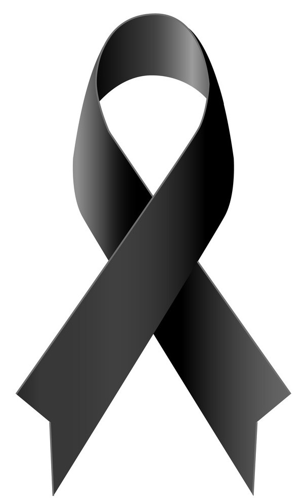 black ribbon mourning symbol isolated vector 18769300